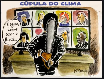 Charges e os fatos políticos Em abril, as charges retratam a Cúpula do Clima, a proteção de Salles aos madeireiros e o jantar de empresários em apoio a Bolsonoro.